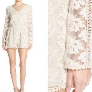 Adelyn Rae Open Back, Lace and Crochet Romper